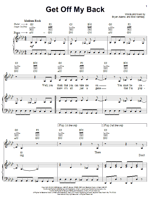Download Bryan Adams Get Off My Back sheet music and printable PDF score & Children music notes
