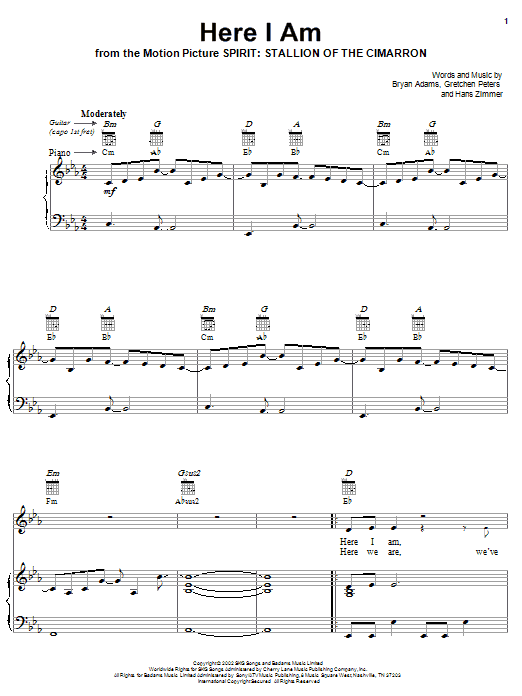 Download Bryan Adams Here I Am (End Title) sheet music and printable PDF score & Children music notes