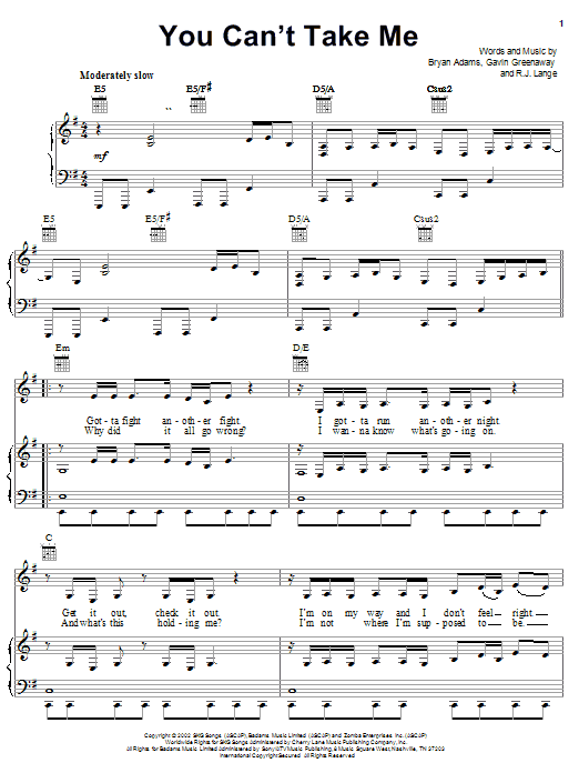 Download Bryan Adams You Can't Take Me sheet music and printable PDF score & Children music notes