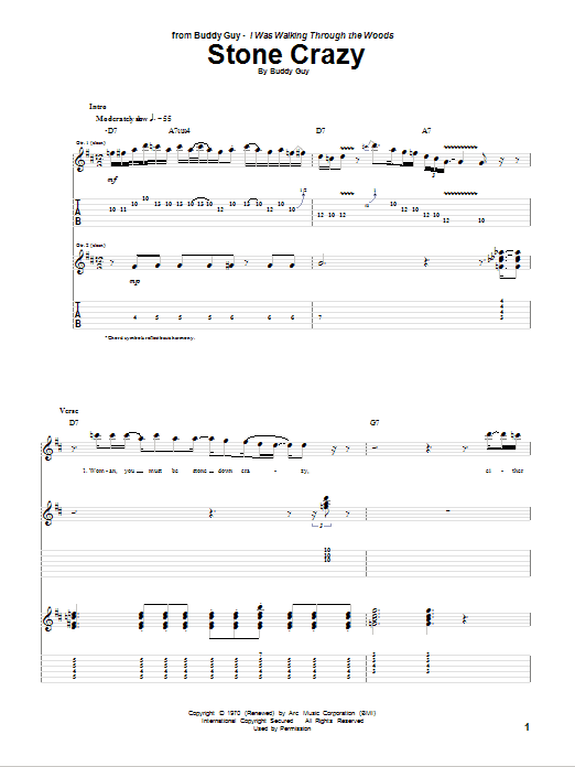 Download Buddy Guy Stone Crazy sheet music and printable PDF score & Pop music notes