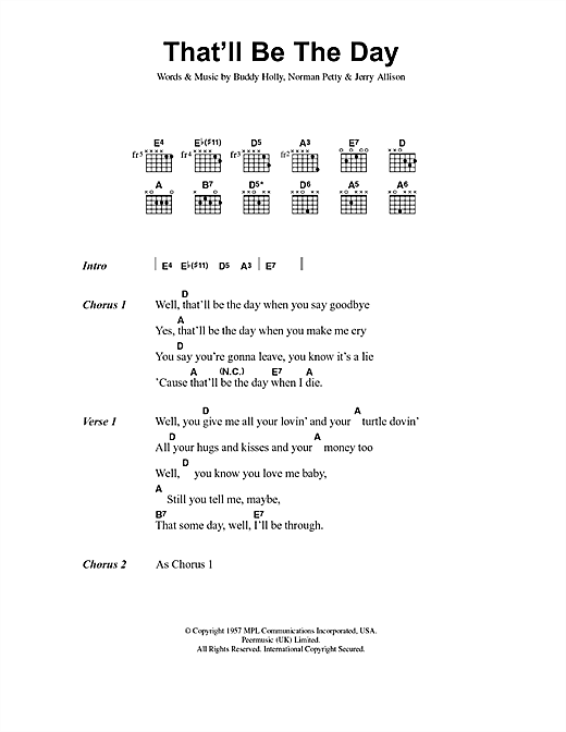 Download Buddy Holly That'll Be The Day sheet music and printable PDF score & Rock music notes