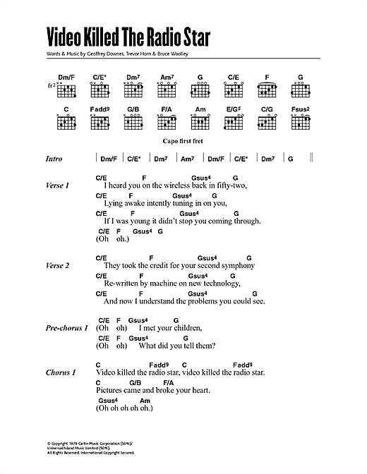 Download Buggles Video Killed The Radio Star sheet music and printable PDF score & Pop music notes