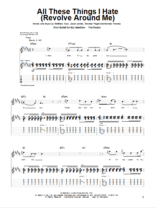 Download Bullet for My Valentine All These Things I Hate (Revolve Around Me) sheet music and printable PDF score & Pop music notes