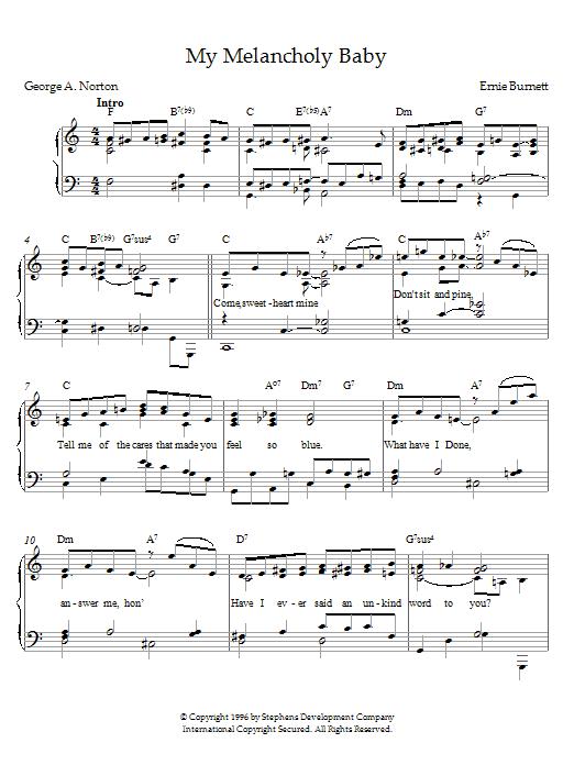 Download Ernie Burnett My Melancholy Baby sheet music and printable PDF score & Pop music notes