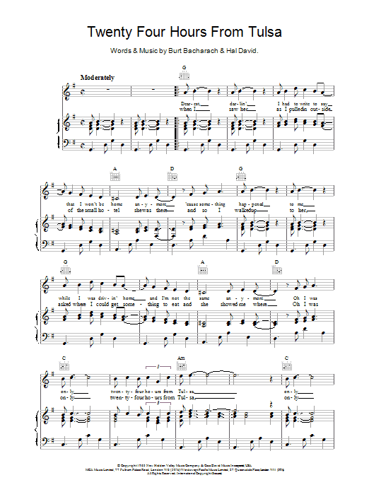 Download Bacharach & David Twenty Four Hours From Tulsa sheet music and printable PDF score & Pop music notes