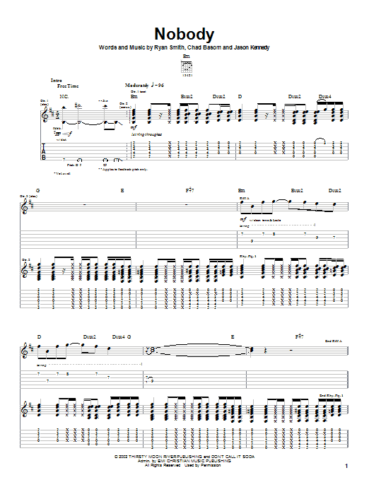 Download Cadet Nobody sheet music and printable PDF score & Rock music notes