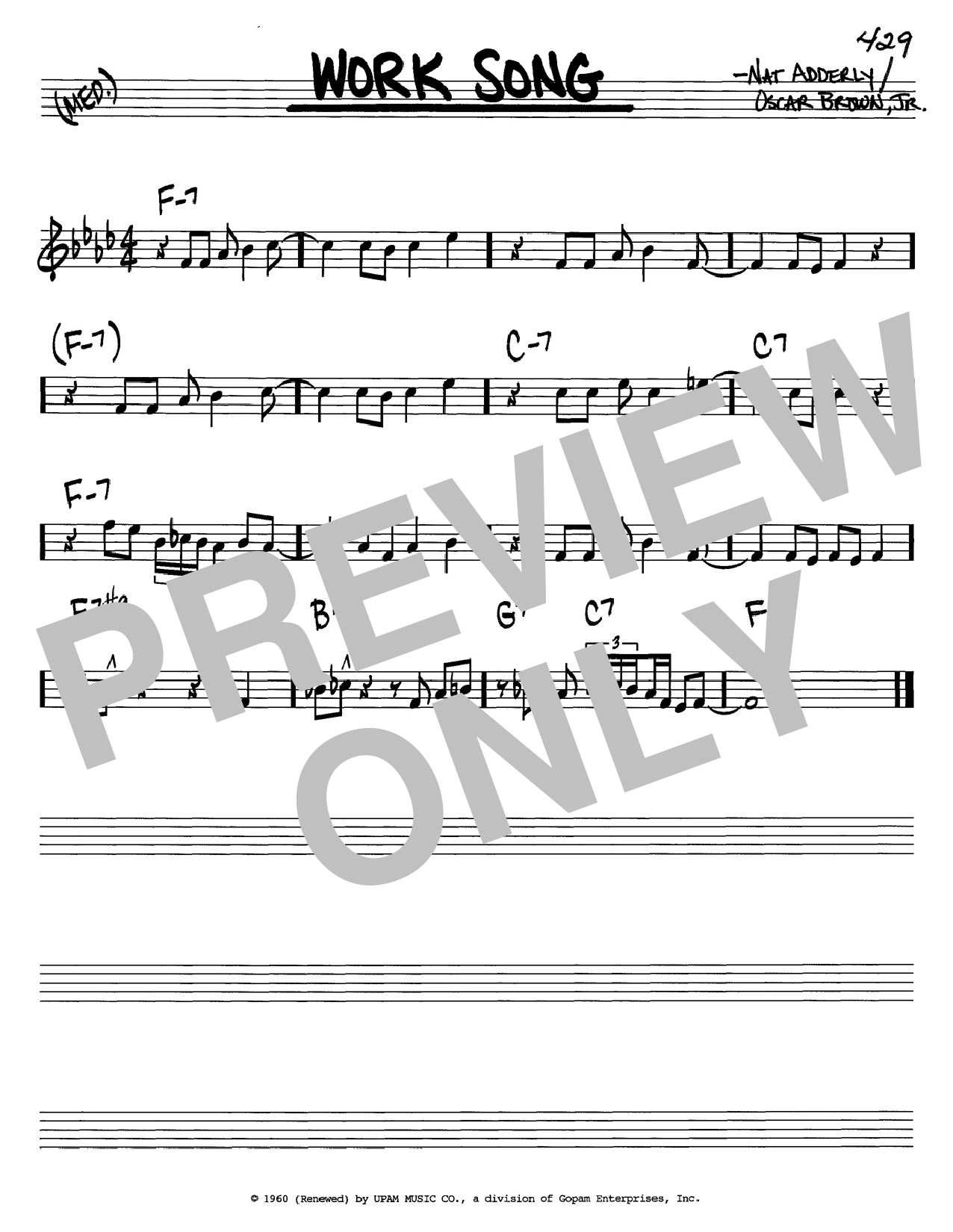 Download Cannonball Adderley Work Song sheet music and printable PDF score & Folk music notes