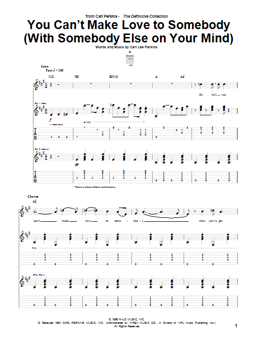 Download Carl Perkins You Can't Make Love To Somebody (With Somebody Else On Your Mind) sheet music and printable PDF score & Rock music notes