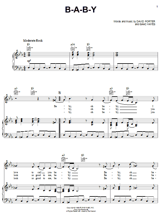Download Carla Thomas B-A-B-Y sheet music and printable PDF score & Pop music notes