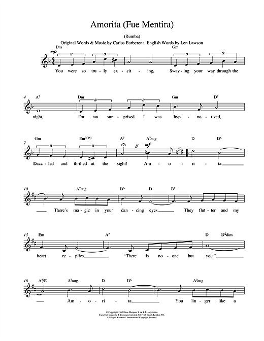 Download Carlos Barberena Amorita (Fue Mentira) sheet music and printable PDF score & World music notes