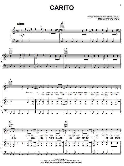 Download Carlos Vives Carito sheet music and printable PDF score & World music notes