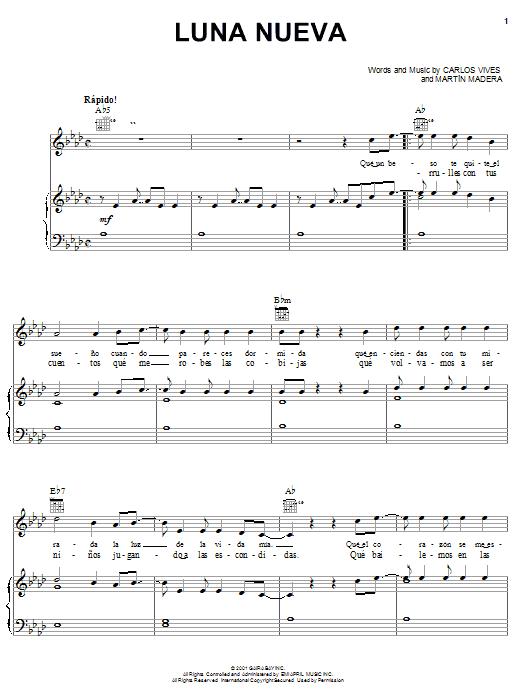 Download Carlos Vives Luna Nueva sheet music and printable PDF score & World music notes