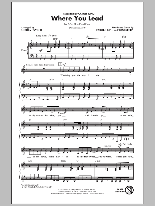 Download Carole King Where You Lead (arr. Audrey Snyder) sheet music and printable PDF score & Rock music notes