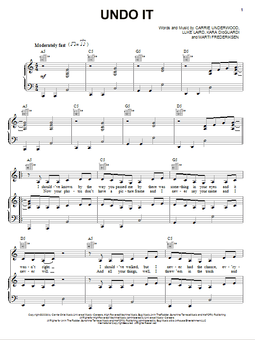 Download Carrie Underwood Undo It sheet music and printable PDF score & Pop music notes