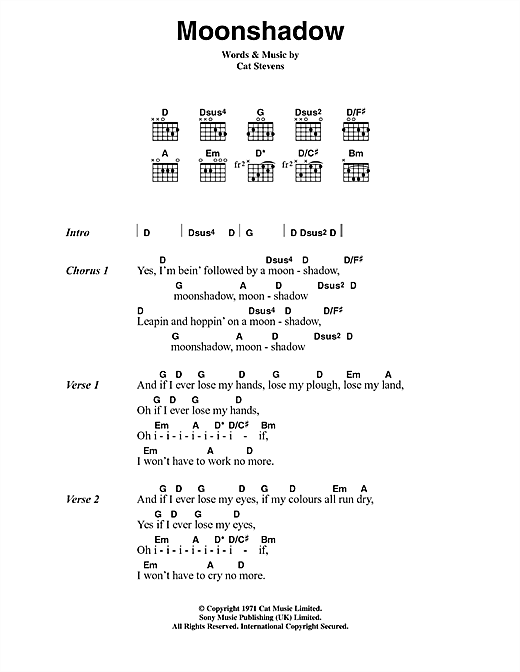 Download Cat Stevens Moonshadow sheet music and printable PDF score & Pop music notes