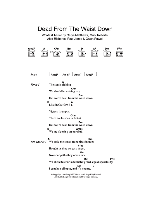 Download Catatonia Dead From The Waist Down sheet music and printable PDF score & Pop music notes