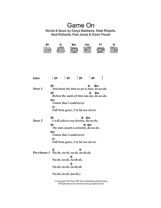 Download Catatonia Game On sheet music and printable PDF score & Pop music notes