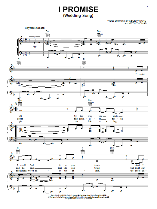 Download CeCe Winans I Promise (Wedding Song) sheet music and printable PDF score & Pop music notes