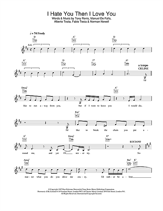 Download Celine Dion I Hate You Then I Love You sheet music and printable PDF score & Pop music notes