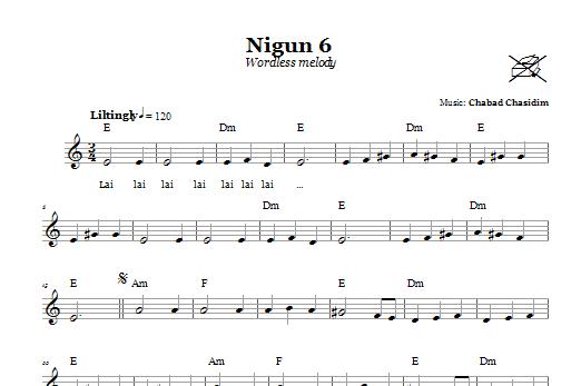 Download Chabad Chasidim Nigun 6 (Wordless Melody) sheet music and printable PDF score & Religious music notes