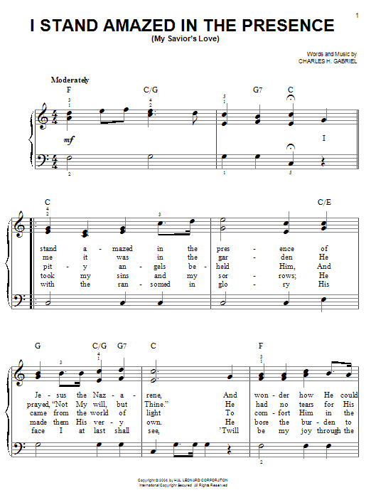 Download Charles H. Gabriel I Stand Amazed In The Presence (My Savior's Love) sheet music and printable PDF score & Hymn music notes