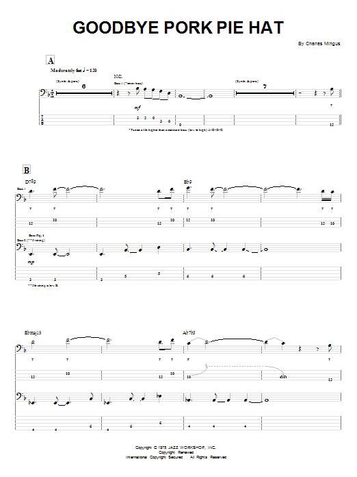 Download Charles Mingus Goodbye Pork Pie Hat sheet music and printable PDF score & Jazz music notes