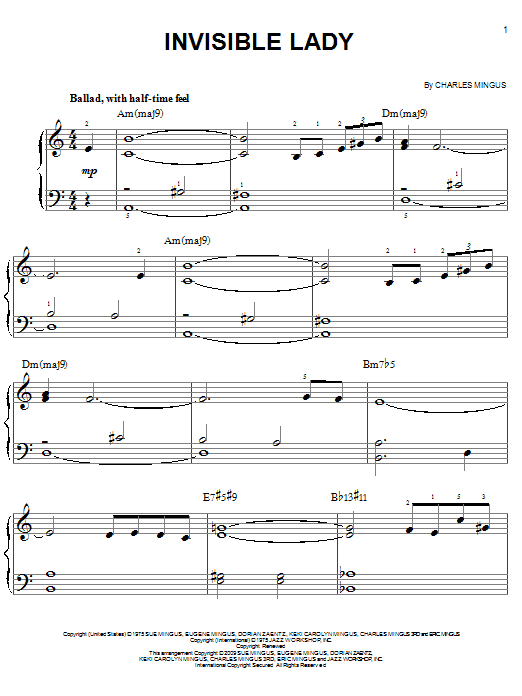 Download Charles Mingus Invisible Lady sheet music and printable PDF score & Jazz music notes