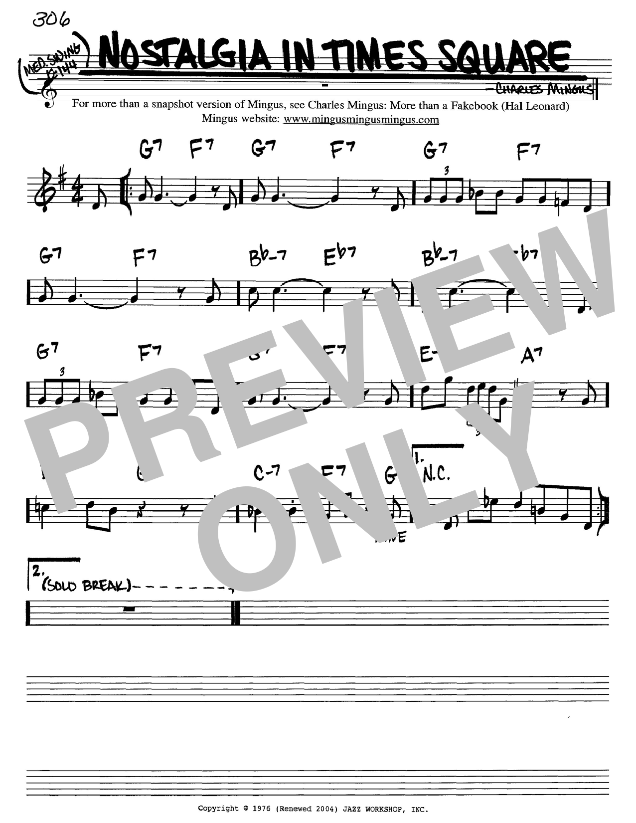 Download Charles Mingus Nostalgia In Times Square sheet music and printable PDF score & Jazz music notes