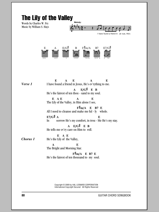 Download Charles W. Fry The Lily Of The Valley sheet music and printable PDF score & Religious music notes