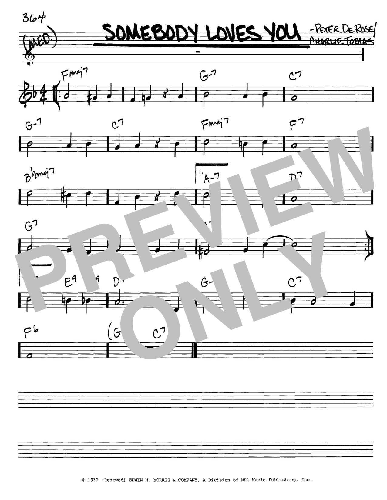 Download Charlie Tobias Somebody Loves You sheet music and printable PDF score & Jazz music notes
