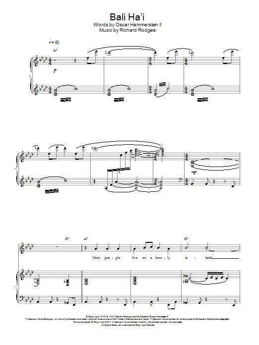 Download Charlotte Church Bali Ha'i sheet music and printable PDF score & Post-1900 music notes