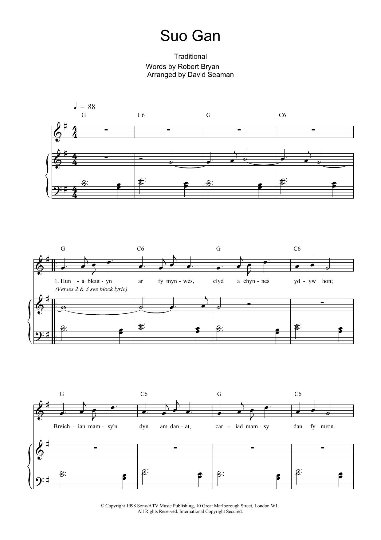 Download Charlotte Church Suo Gan sheet music and printable PDF score & Post-1900 music notes