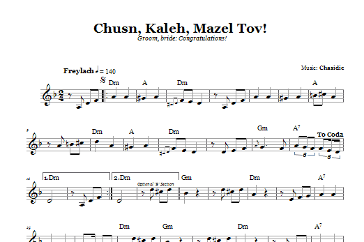 Download Chasidic Chusn, Kaleh, Mazal Tov! (Groom, Bride: Congratulations!) sheet music and printable PDF score & Religious music notes