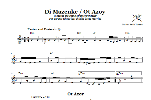 Download Chasidic Di Mazinke/Ot Azoy (Wedding Crowning Ceremony Medley) sheet music and printable PDF score & Religious music notes