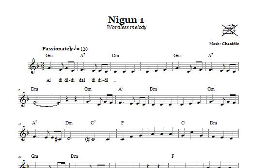 Download Chasidic Nigun 1 (Wordless Melody) sheet music and printable PDF score & Religious music notes
