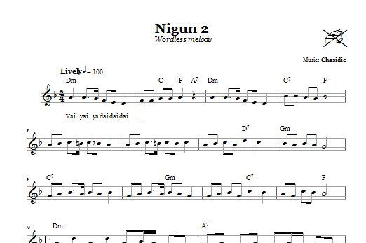 Download Chasidic Nigun 2 (Wordless Melody) sheet music and printable PDF score & Religious music notes