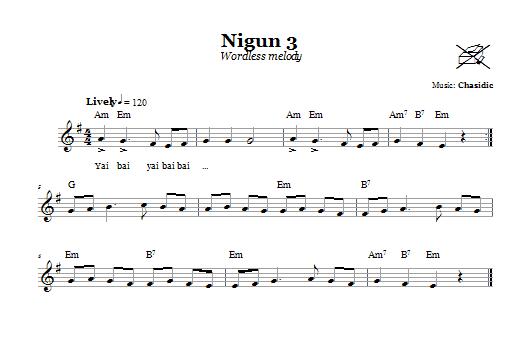 Download Chasidic Nigun 3 (Wordless Melody) sheet music and printable PDF score & Religious music notes
