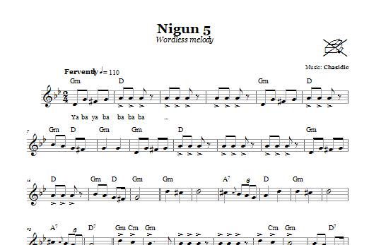 Download Chasidic Nigun 5 (Wordless Melody) sheet music and printable PDF score & Religious music notes