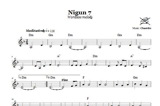 Download Chasidic Nigun 7 (Wordless Melody) sheet music and printable PDF score & Religious music notes