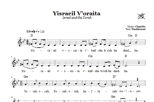 Download Chasidic Yisraeil V'oraita (Israel and the Torah) sheet music and printable PDF score & Religious music notes
