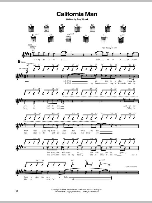 Download Cheap Trick California Man sheet music and printable PDF score & Rock music notes