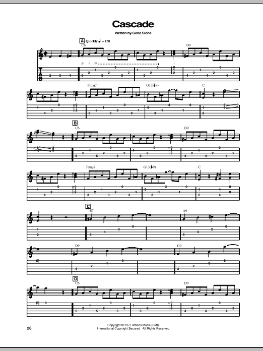 Download Chet Atkins Cascade sheet music and printable PDF score & Pop music notes
