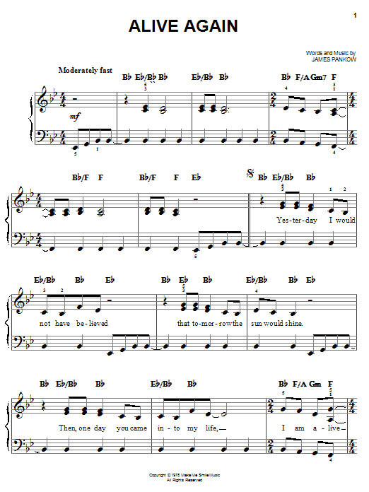 Download Chicago Alive Again sheet music and printable PDF score & Pop music notes