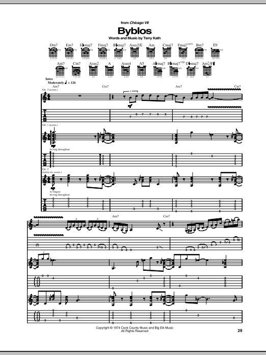 Download Chicago Byblos sheet music and printable PDF score & Rock music notes