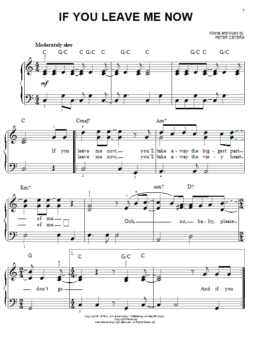 Download Chicago If You Leave Me Now sheet music and printable PDF score & Pop music notes