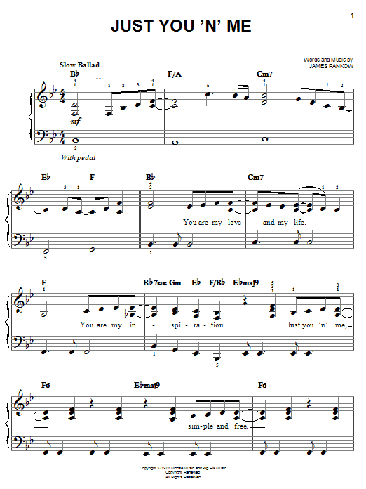 Download Chicago Just You 'N' Me sheet music and printable PDF score & Rock music notes