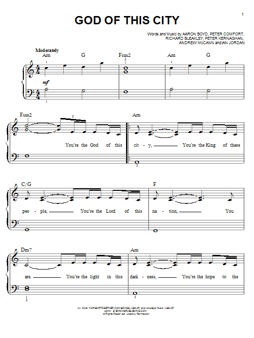 Download Chris Tomlin God Of This City sheet music and printable PDF score & Pop music notes