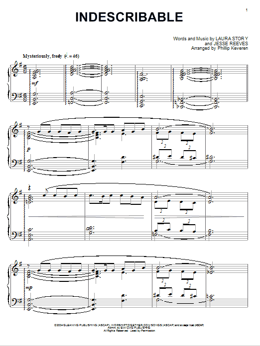 Download Chris Tomlin Indescribable [Jazz version] (arr. Phillip Keveren) sheet music and printable PDF score & Pop music notes