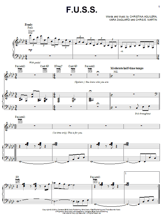 Download Christina Aguilera F.U.S.S. sheet music and printable PDF score & Pop music notes
