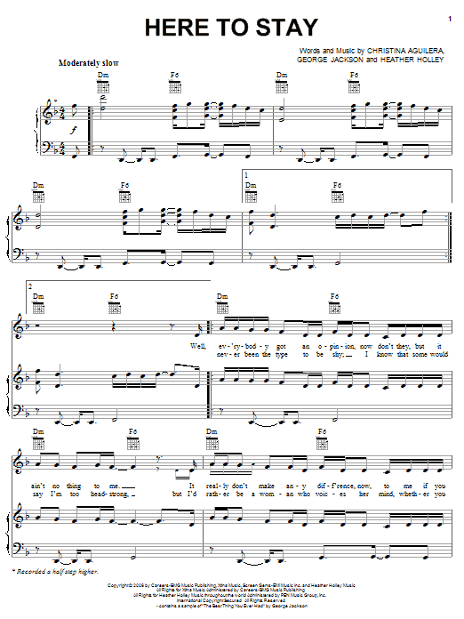 Download Christina Aguilera Here To Stay sheet music and printable PDF score & Pop music notes